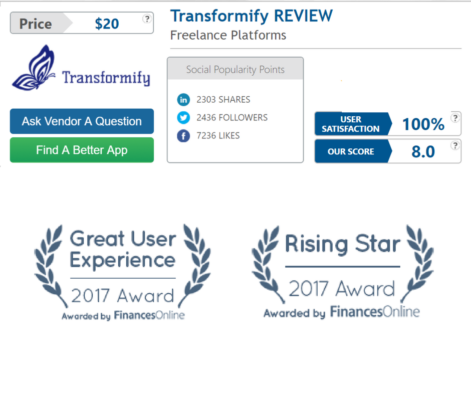 Transformify gets two freelance platform awards from FinancesOnline